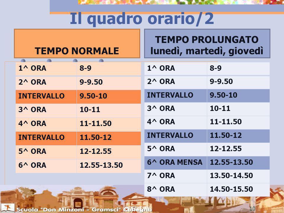 Il quadro orario/2 TEMPO NORMALE 1^ ORA8-9 2^ ORA9-9.50 INTERVALLO9.50-10 3^ ORA10-11 4^ ORA11-11.50 INTERVALLO11.50-12 5^ ORA12-12.55 6^ ORA12.55-13.50 TEMPO PROLUNGATO lunedì, martedì, giovedì 1^ ORA8-9 2^ ORA9-9.50 INTERVALLO9.50-10 3^ ORA10-11 4^ ORA11-11.50 INTERVALLO11.50-12 5^ ORA12-12.55 6^ ORA MENSA12.55-13.50 7^ ORA13.50-14.50 8^ ORA14.50-15.50 OPEN DAY10