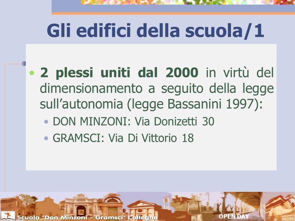 Gli edifici della scuola/1 2 plessi uniti dal 2000 in virtù del dimensionamento a seguito della legge sullautonomia (legge Bassanini 1997): DON MINZONI: Via Donizetti 30 GRAMSCI: Via Di Vittorio 18 OPEN DAY 3
