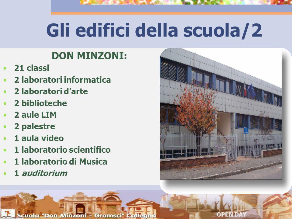 Gli edifici della scuola/2 DON MINZONI: 21 classi 2 laboratori informatica 2 laboratori darte 2 biblioteche 2 aule LIM 2 palestre 1 aula video 1 laboratorio scientifico 1 laboratorio di Musica 1 auditorium OPEN DAY 4