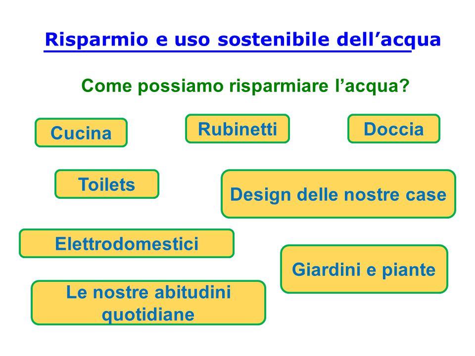 Come possiamo risparmiare lacqua? Doccia Cucina Toilets Rubinetti Elettrodomestici Giardini e piante Le nostre abitudini quotidiane Design delle nostr