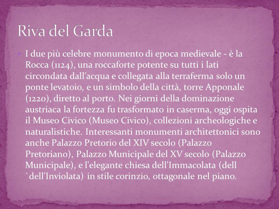 В окрестностях Ривы можно посетить Бастионэ, цилиндрическую крепость на высоком скалистом уступе, построенную венецианцами в XIV веке, водопад Вароне высотой 85 м (в 4-х км от Ривы), панорамную площадку на горе Брионе и горную котловину Гигантов (Marmitte dei Giganti).