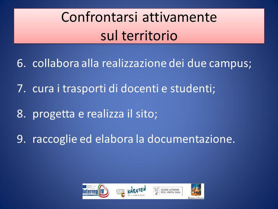 6.collabora alla realizzazione dei due campus; 7.cura i trasporti di docenti e studenti; 8.progetta e realizza il sito; 9.raccoglie ed elabora la documentazione.