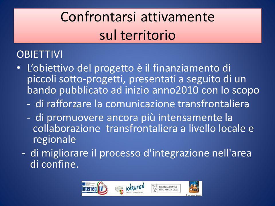 OBIETTIVI Lobiettivo del progetto è il finanziamento di piccoli sotto-progetti, presentati a seguito di un bando pubblicato ad inizio anno2010 con lo scopo - di rafforzare la comunicazione transfrontaliera - di promuovere ancora più intensamente la collaborazione transfrontaliera a livello locale e regionale - di migliorare il processo d integrazione nell area di confine.