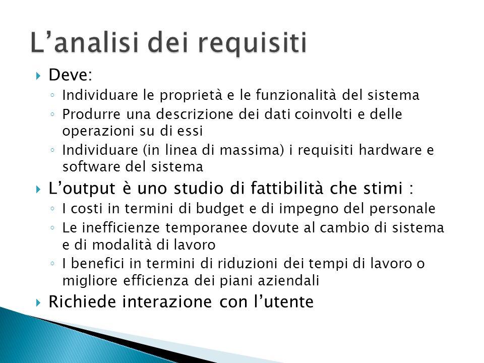 Deve: Individuare le proprietà e le funzionalità del sistema Produrre una descrizione dei dati coinvolti e delle operazioni su di essi Individuare (in