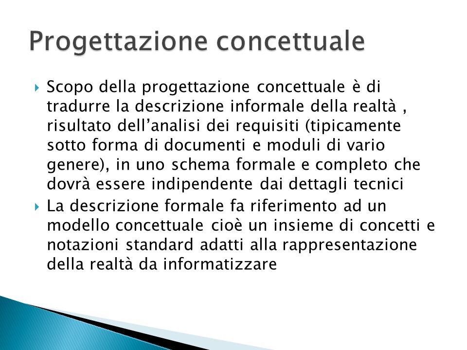 Scopo della progettazione concettuale è di tradurre la descrizione informale della realtà, risultato dellanalisi dei requisiti (tipicamente sotto form