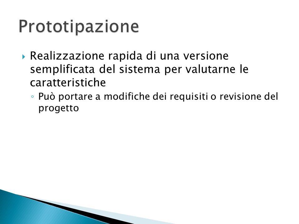Realizzazione rapida di una versione semplificata del sistema per valutarne le caratteristiche Può portare a modifiche dei requisiti o revisione del p