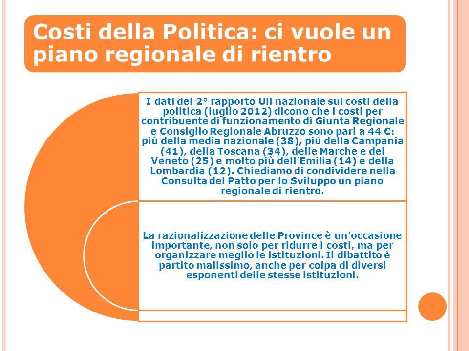 Costi della Politica: ci vuole un piano regionale di rientro I dati del 2° rapporto Uil nazionale sui costi della politica (luglio 2012) dicono che i costi per contribuente di funzionamento di Giunta Regionale e Consiglio Regionale Abruzzo sono pari a 44 : più della media nazionale (38), più della Campania (41), della Toscana (34), delle Marche e del Veneto (25) e molto più dellEmilia (14) e della Lombardia (12).