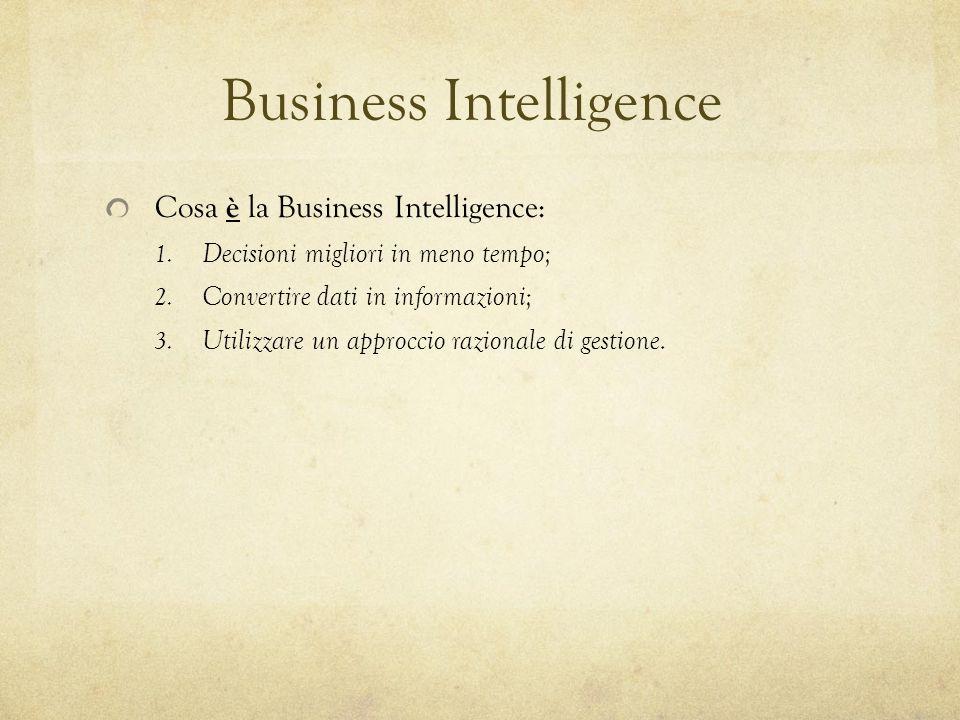 Business Intelligence Cosa è la Business Intelligence: 1. Decisioni migliori in meno tempo; 2. Convertire dati in informazioni; 3. Utilizzare un appro