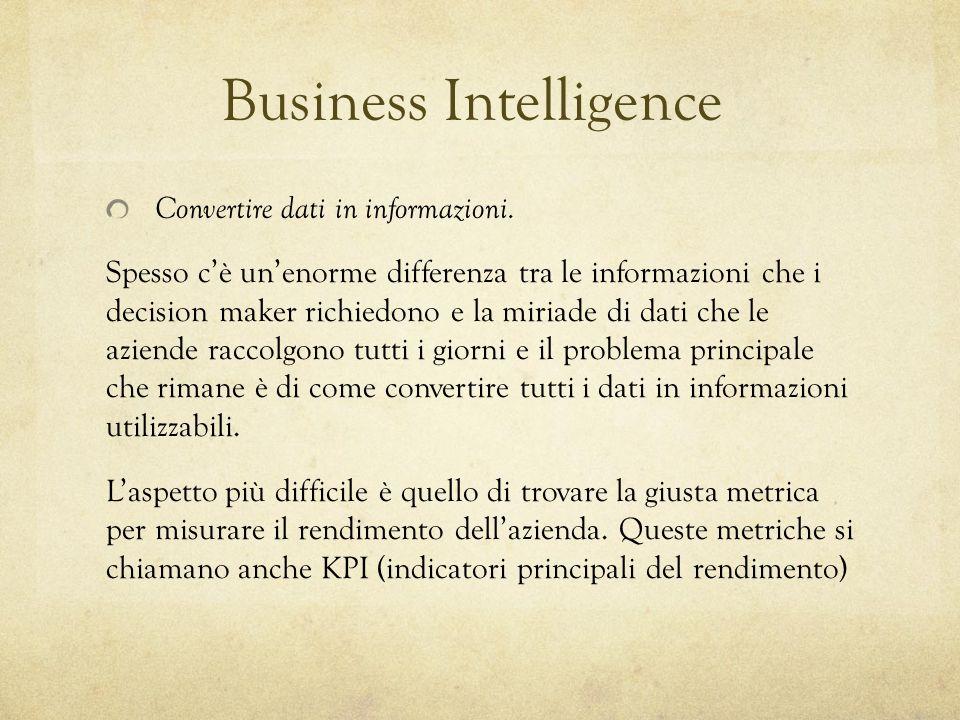 Business Intelligence Convertire dati in informazioni. Spesso cè unenorme differenza tra le informazioni che i decision maker richiedono e la miriade