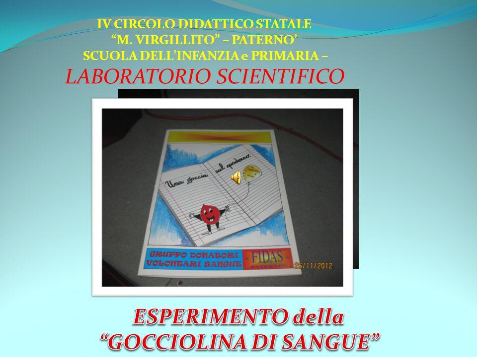 IV CIRCOLO DIDATTICO STATALE M. VIRGILLITO – PATERNO SCUOLA DELLINFANZIA e PRIMARIA – LABORATORIO SCIENTIFICO