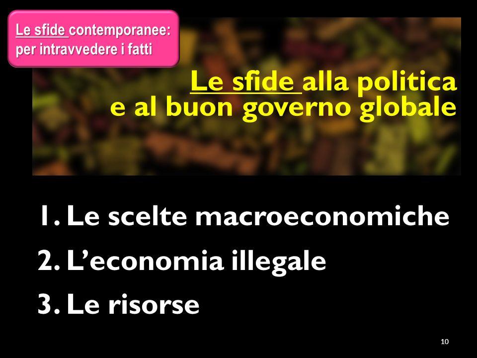 Le sfide alla politica e al buon governo globale 1.