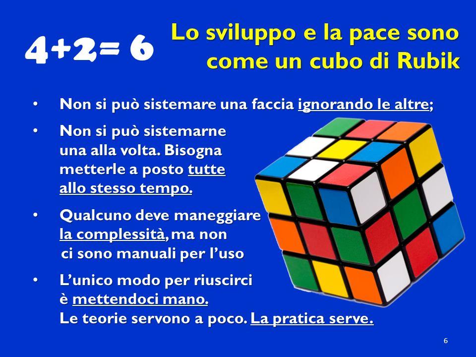 Lo sviluppo e la pace sono come un cubo di Rubik Non si può sistemare una faccia ignorando le altre; Non si può sistemare una faccia ignorando le altre; Non si può sistemarne Non si può sistemarne una alla volta.