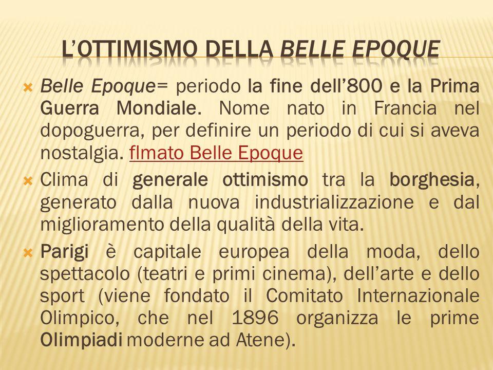 Belle Epoque= periodo la fine dell800 e la Prima Guerra Mondiale. Nome nato in Francia nel dopoguerra, per definire un periodo di cui si aveva nostalg