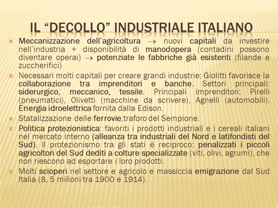Meccanizzazione dellagricoltura nuovi capitali da investire nellindustria + disponibilità di manodopera (contadini possono diventare operai) potenziat