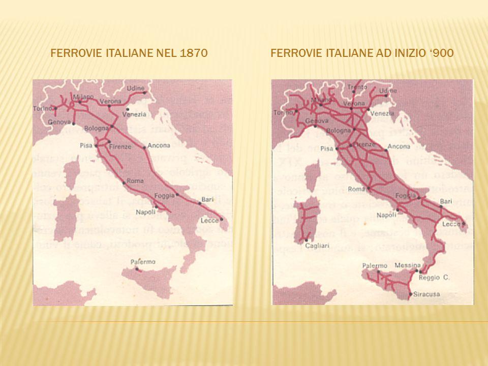 FERROVIE ITALIANE NEL 1870FERROVIE ITALIANE AD INIZIO 900