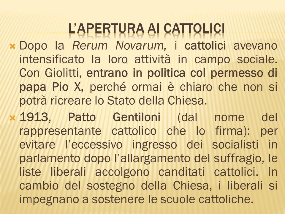 Dopo la Rerum Novarum, i cattolici avevano intensificato la loro attività in campo sociale. Con Giolitti, entrano in politica col permesso di papa Pio