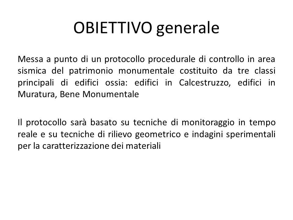OBIETTIVO generale Messa a punto di un protocollo procedurale di controllo in area sismica del patrimonio monumentale costituito da tre classi princip