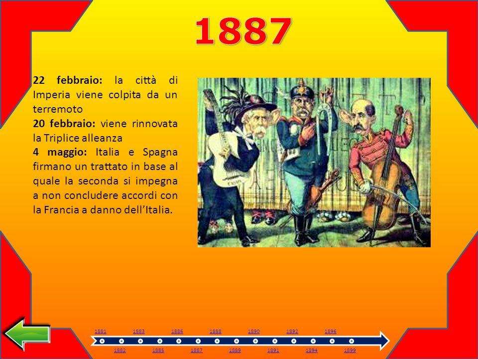 22 febbraio: la città di Imperia viene colpita da un terremoto 20 febbraio: viene rinnovata la Triplice alleanza 4 maggio: Italia e Spagna firmano un trattato in base al quale la seconda si impegna a non concludere accordi con la Francia a danno dellItalia.