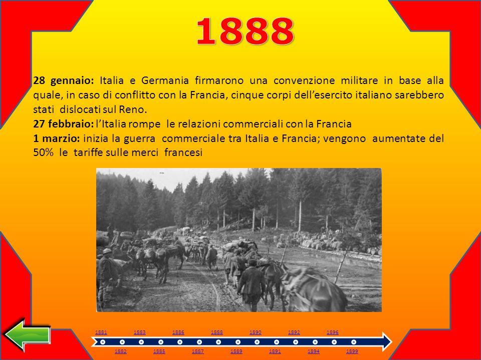 28 gennaio: Italia e Germania firmarono una convenzione militare in base alla quale, in caso di conflitto con la Francia, cinque corpi dellesercito italiano sarebbero stati dislocati sul Reno.