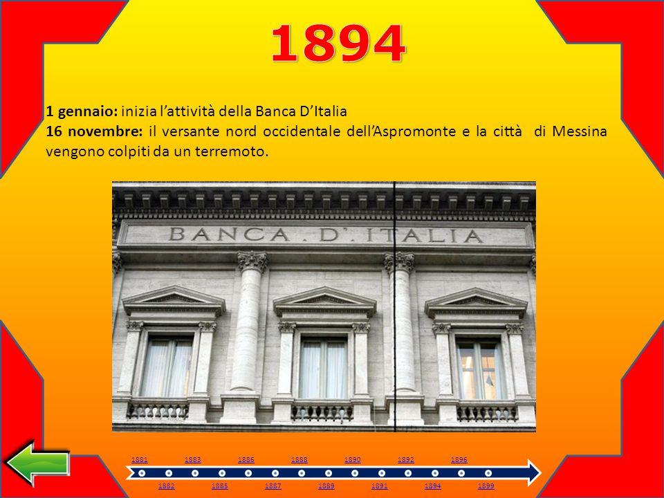 1 gennaio: inizia lattività della Banca DItalia 16 novembre: il versante nord occidentale dellAspromonte e la città di Messina vengono colpiti da un terremoto.