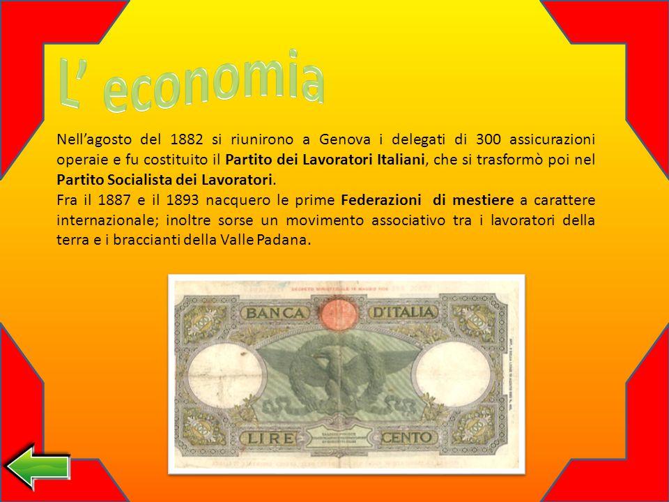 Nellagosto del 1882 si riunirono a Genova i delegati di 300 assicurazioni operaie e fu costituito il Partito dei Lavoratori Italiani, che si trasformò poi nel Partito Socialista dei Lavoratori.