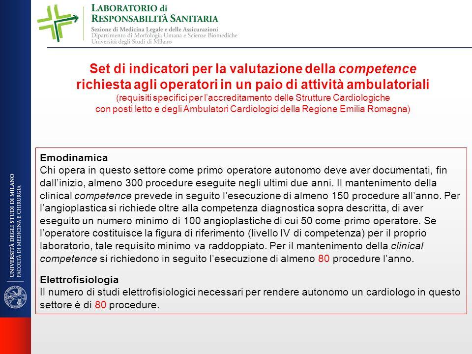 Set di indicatori per la valutazione della competence richiesta agli operatori in un paio di attività ambulatoriali (requisiti specifici per laccredit