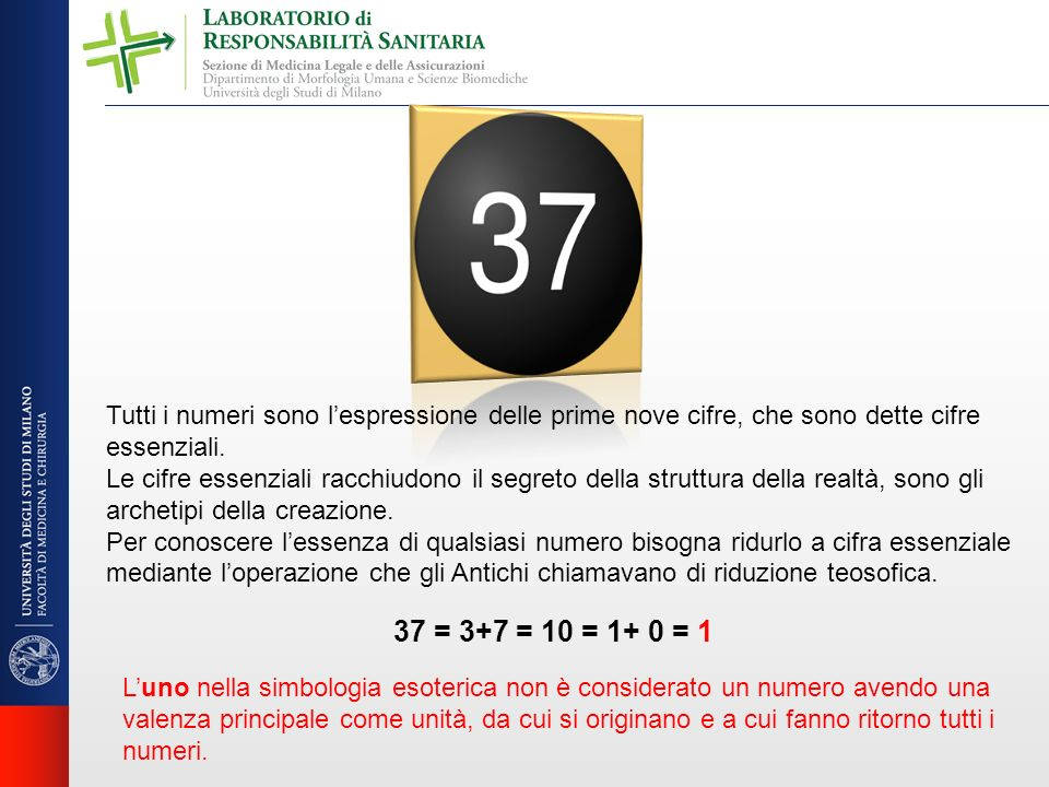 Tutti i numeri sono lespressione delle prime nove cifre, che sono dette cifre essenziali. Le cifre essenziali racchiudono il segreto della struttura d