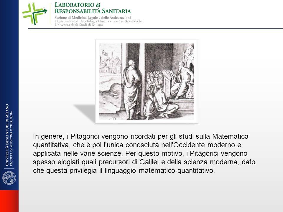 In genere, i Pitagorici vengono ricordati per gli studi sulla Matematica quantitativa, che è poi l'unica conosciuta nell'Occidente moderno e applicata