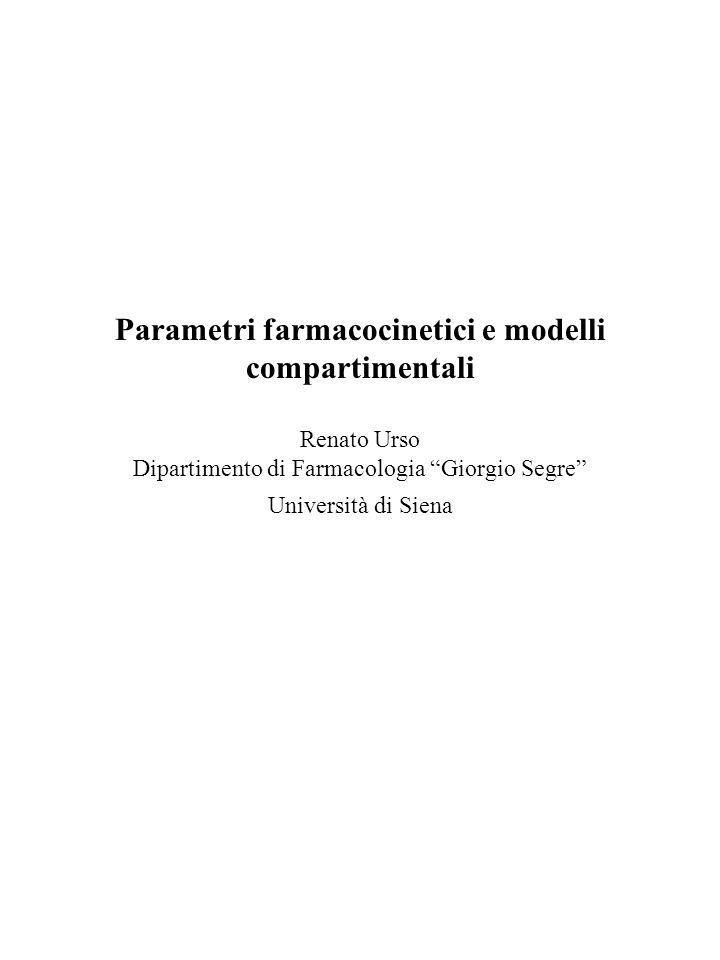 Parametri farmacocinetici e modelli compartimentali Renato Urso Dipartimento di Farmacologia Giorgio Segre Università di Siena