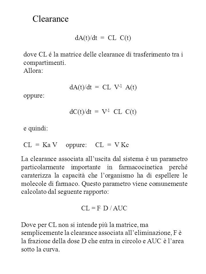 dA(t)/dt = CL C(t) dove CL é la matrice delle clearance di trasferimento tra i compartimenti. Allora: dA(t)/dt = CL V -1 A(t) oppure: dC(t)/dt = V -1