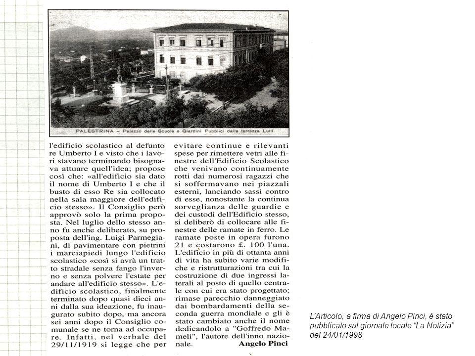 LArticolo, a firma di Angelo Pinci, è stato pubblicato sul giornale locale La Notizia del 24/01/1998
