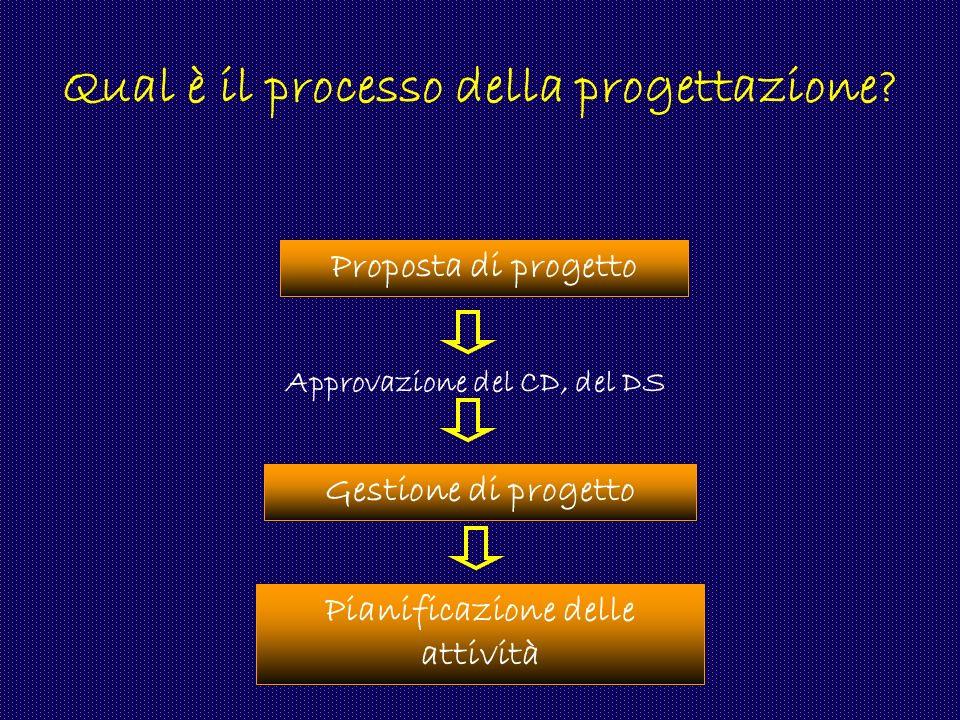Qual è il processo della progettazione? Proposta di progetto Approvazione del CD, del DS Pianificazione delle attività Gestione di progetto
