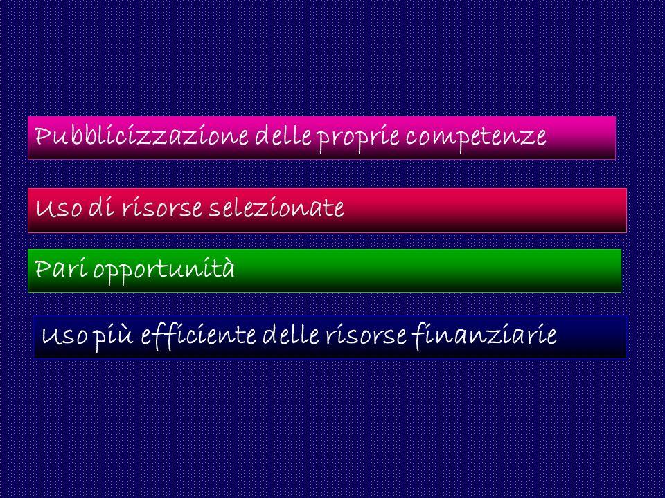 Uso di risorse selezionate Pari opportunità Uso più efficiente delle risorse finanziarie Pubblicizzazione delle proprie competenze