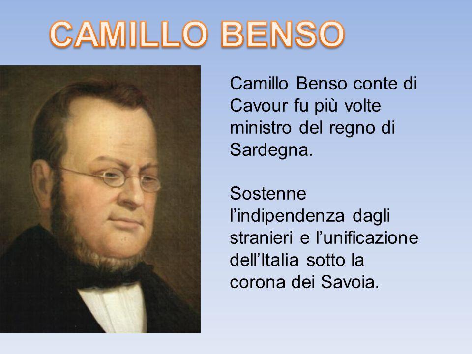 Camillo Benso conte di Cavour fu più volte ministro del regno di Sardegna.