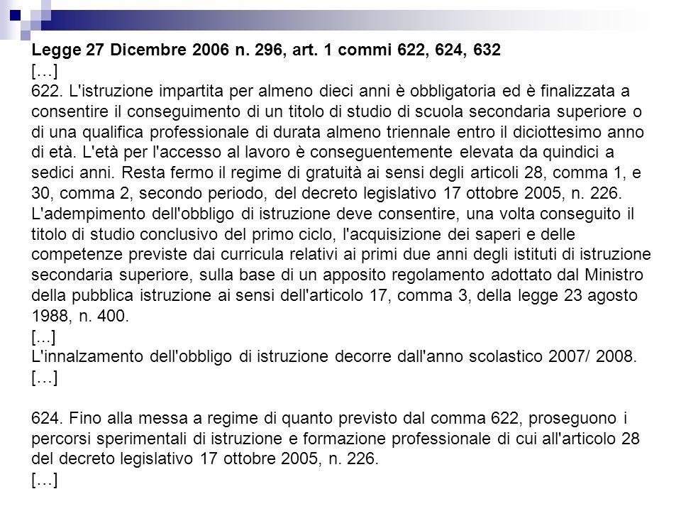 Legge 27 Dicembre 2006 n. 296, art. 1 commi 622, 624, 632 […] 622. L'istruzione impartita per almeno dieci anni è obbligatoria ed è finalizzata a cons