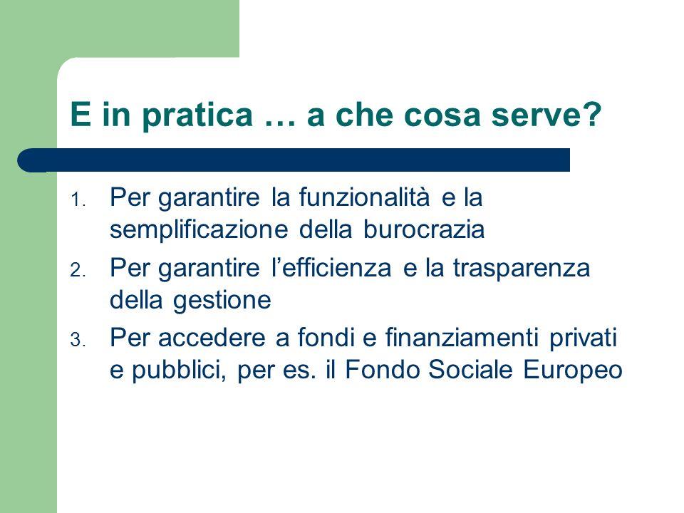 E in pratica … a che cosa serve? 1. Per garantire la funzionalità e la semplificazione della burocrazia 2. Per garantire lefficienza e la trasparenza