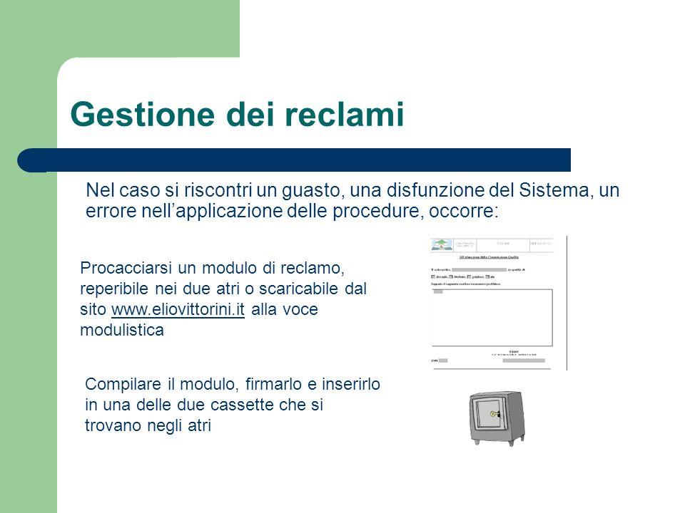 Gestione dei reclami Nel caso si riscontri un guasto, una disfunzione del Sistema, un errore nellapplicazione delle procedure, occorre: Procacciarsi u