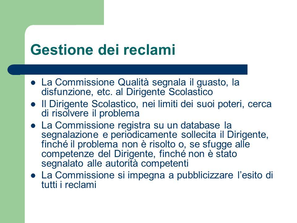 Gestione dei reclami La Commissione Qualità segnala il guasto, la disfunzione, etc. al Dirigente Scolastico Il Dirigente Scolastico, nei limiti dei su