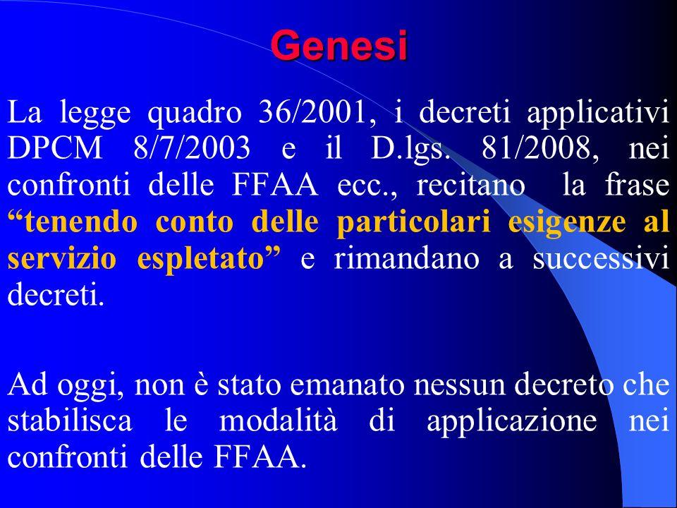 Genesi La legge quadro 36/2001, i decreti applicativi DPCM 8/7/2003 e il D.lgs. 81/2008, nei confronti delle FFAA ecc., recitano la frasetenendo conto