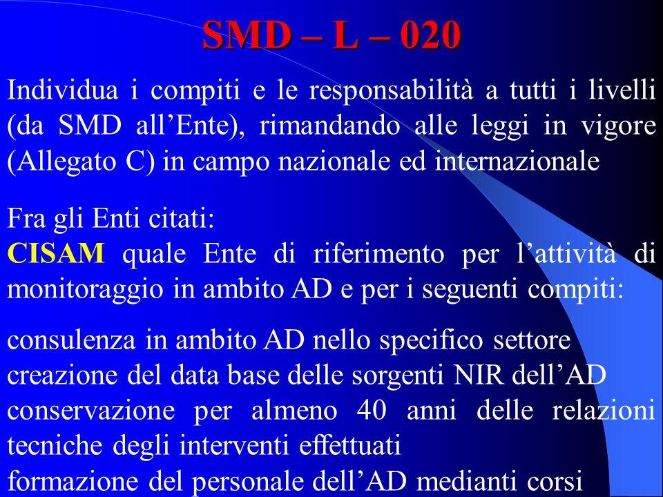 SMD – L – 020 Individua i compiti e le responsabilità a tutti i livelli (da SMD allEnte), rimandando alle leggi in vigore (Allegato C) in campo nazion