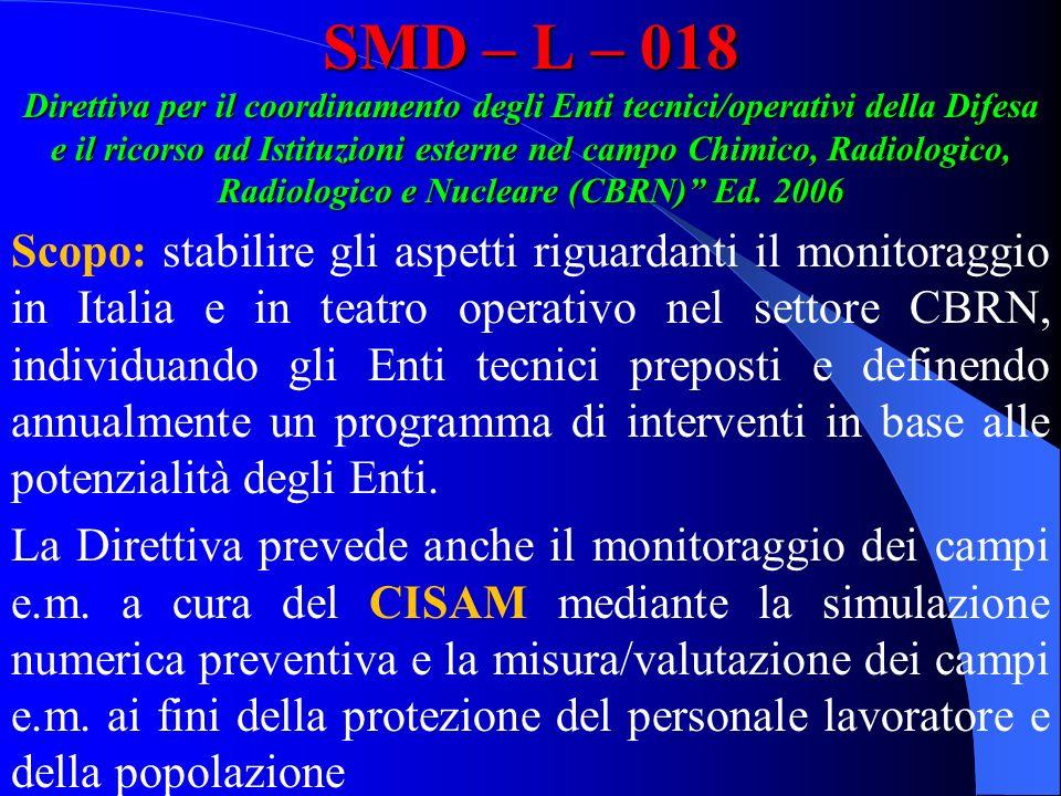SMD – L – 018 Direttiva per il coordinamento degli Enti tecnici/operativi della Difesa e il ricorso ad Istituzioni esterne nel campo Chimico, Radiolog