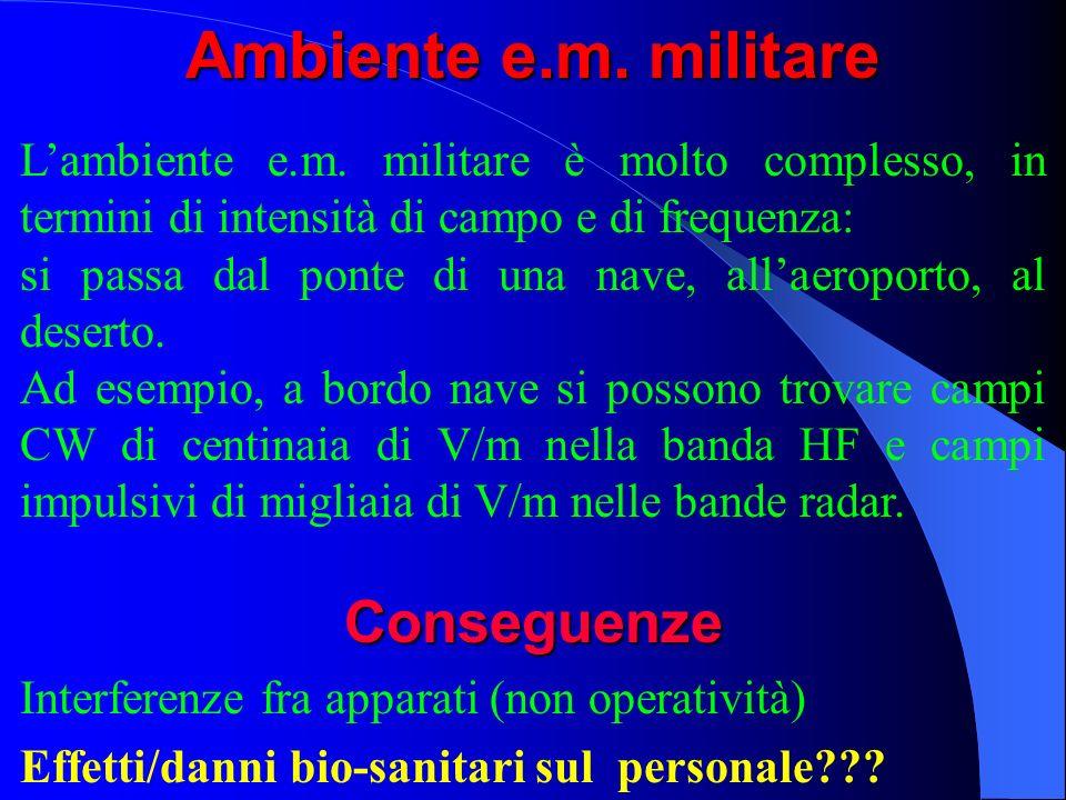 Ambiente e.m. militare Lambiente e.m. militare è molto complesso, in termini di intensità di campo e di frequenza: si passa dal ponte di una nave, all