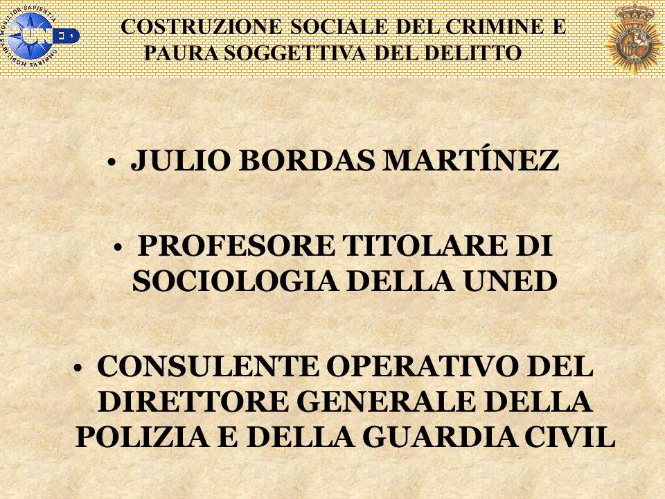 COSTRUZIONE SOCIALE DEL CRIMINE E PAURA SOGGETTIVA DEL DELITTO JULIO BORDAS MARTÍNEZ PROFESORE TITOLARE DI SOCIOLOGIA DELLA UNED CONSULENTE OPERATIVO