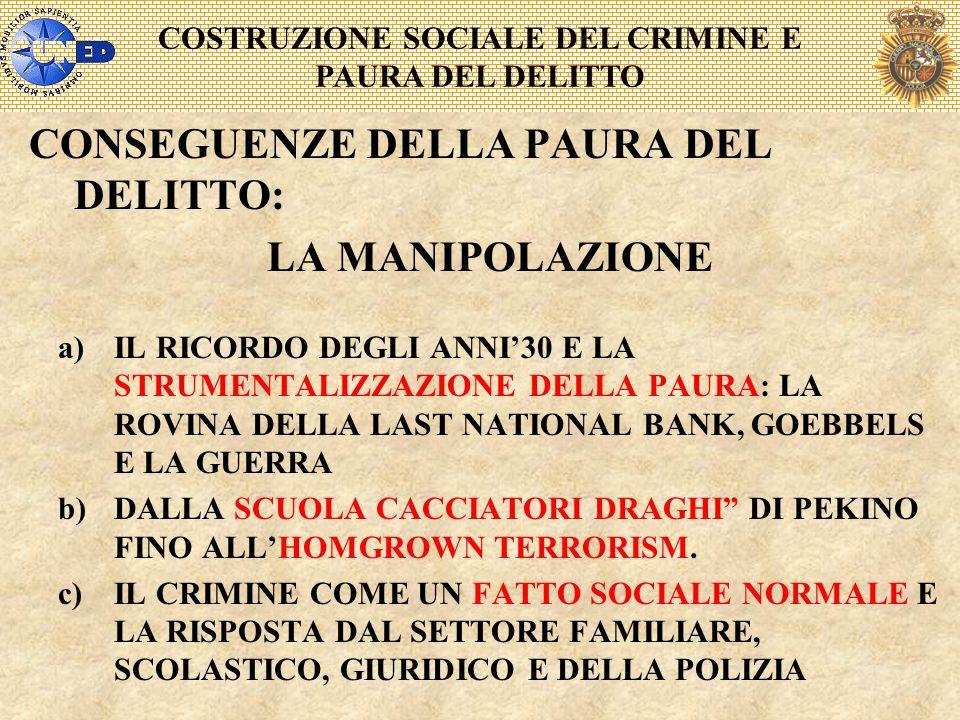 COSTRUZIONE SOCIALE DEL CRIMINE E PAURA DEL DELITTO CONSEGUENZE DELLA PAURA DEL DELITTO: LA MANIPOLAZIONE a)IL RICORDO DEGLI ANNI30 E LA STRUMENTALIZZ