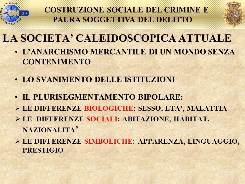COSTRUZIONE SOCIALE DEL CRIMINE E PAURA SOGGETTIVA DEL DELITTO LA SOCIETA CALEIDOSCOPICA ATTUALE LANARCHISMO MERCANTILE DI UN MONDO SENZA CONTENIMENTO