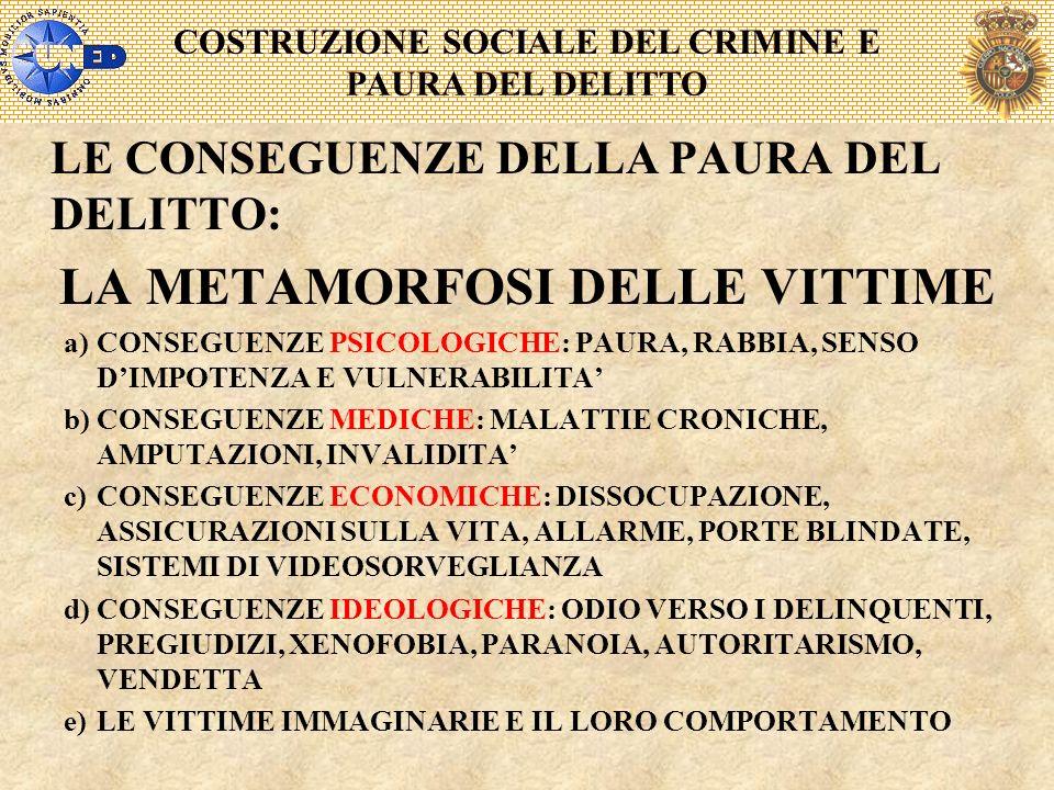 COSTRUZIONE SOCIALE DEL CRIMINE E PAURA DEL DELITTO LE CONSEGUENZE DELLA PAURA DEL DELITTO: LA METAMORFOSI DELLE VITTIME a)CONSEGUENZE PSICOLOGICHE: P