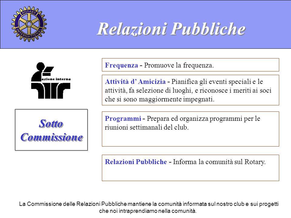 Relazioni Pubbliche - Informa la comunità sul Rotary. Relazioni Pubbliche Sotto Commissione La Commissione delle Relazioni Pubbliche mantiene la comun