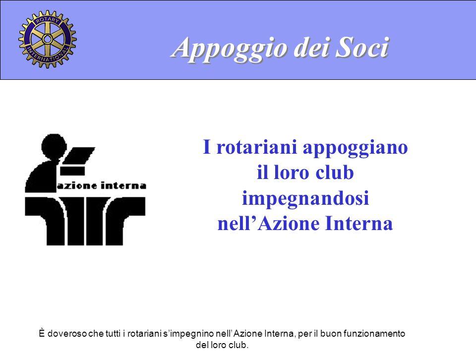 È doveroso che tutti i rotariani simpegnino nell Azione Interna, per il buon funzionamento del loro club. I rotariani appoggiano il loro club impegnan