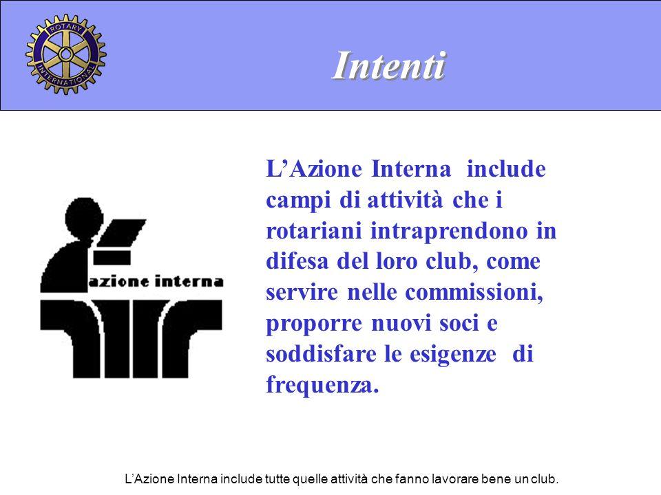 LAzione Interna include campi di attività che i rotariani intraprendono in difesa del loro club, come servire nelle commissioni, proporre nuovi soci e