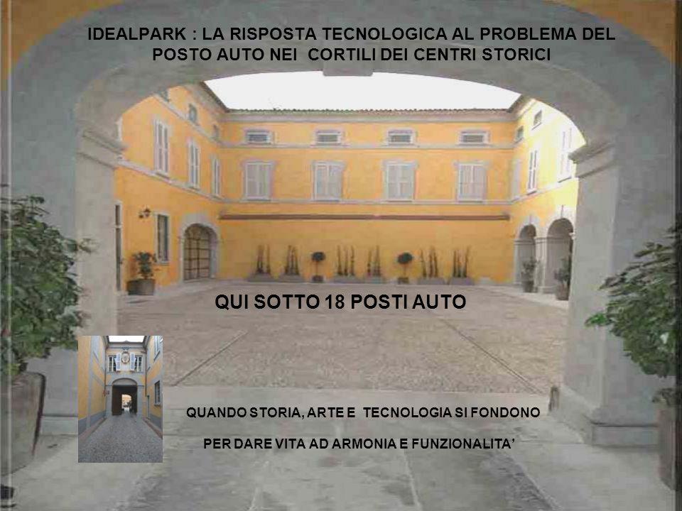 IDEALPARK : LA RISPOSTA TECNOLOGICA AL PROBLEMA DEL POSTO AUTO NEI CORTILI DEI CENTRI STORICI QUI SOTTO 18 POSTI AUTO QUANDO STORIA, ARTE E TECNOLOGIA